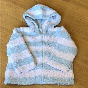 angel dear chenille hoodie pink/grey 12-18 months